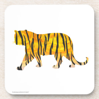 Silhouette Tiger Black and Orange Beverage Coaster