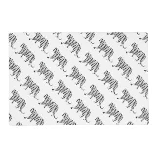 Silhouette Tiger Black and White Placemat