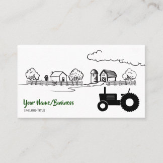 Silhouette Tractor and Charming Country Farm Business Card