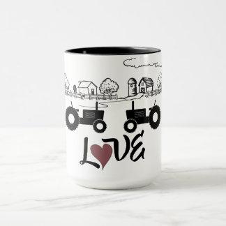 Silhouette Tractor Couple in LOVE Farm Mug