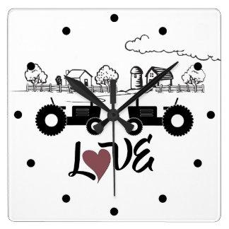 Silhouette Tractor Couple in LOVE Farm Square Wall Clock