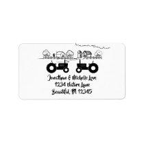 Silhouette Tractors and Farm Black - White Address Label