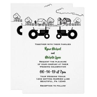 Silhouette Tractors and Farm Black - White Wedding Invitation