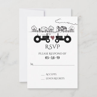 Silhouette Tractors and Farm Black - White Wedding RSVP Card