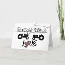 Silhouette Tractors and Farm ~ Couple in LOVE Card