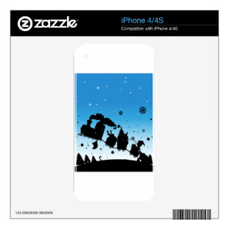 Silhouette train full of christmas things skin for the iPhone 4