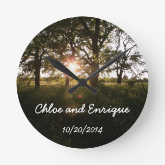 Silhouette Trees And Sunlight Personalized Weddin Round Clocks