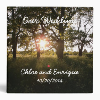 Silhouette Trees And Sunlight Personalized Wedding Binder