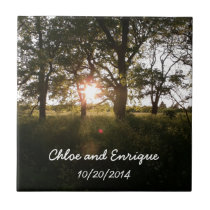 Silhouette Trees And Sunlight Personalized Wedding Ceramic Tile