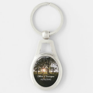 Silhouette Trees And Sunlight Personalized Wedding Keychain