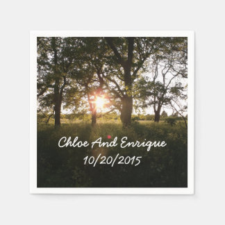 Silhouette Trees And Sunlight Personalized Wedding Paper Napkins