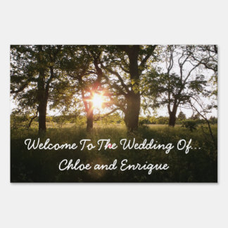 Silhouette Trees And Sunlight Personalized Yard Sign