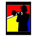 Silhouette trombone player, mondrian style art post cards