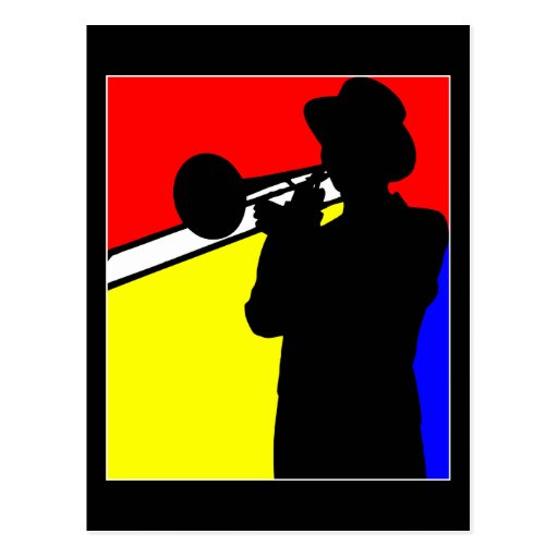 Silhouette trombone player, mondrian style art postcard
