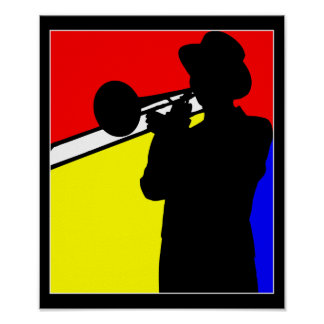 Silhouette trombone player, mondrian style art poster