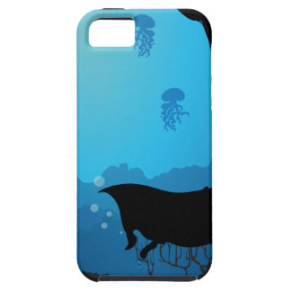 Silhouette underwater scene with stingray iPhone 5 cover