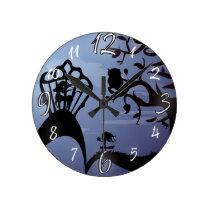 Silhouette Unicorn, Owl & Girl Round Clock
