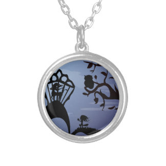 Silhouette Unicorn, Owl & Girl Silver Plated Necklace