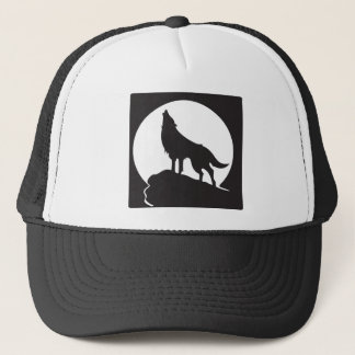 Silhouette wolf howling at the moon - therian tee trucker hat