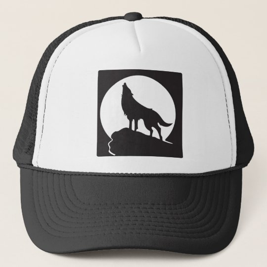 Silhouette wolf howling at the moon - therian tee trucker hat ... 0f68d29b2fa4