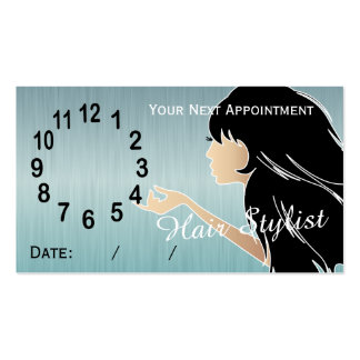 Silhouette Woman Hair Stylist Appointment Business Card Templates