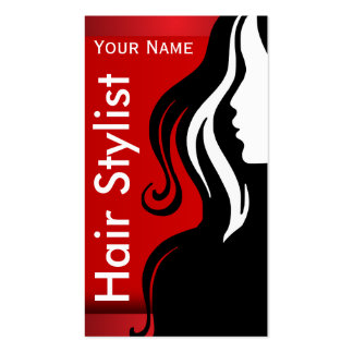 Silhouette Woman Hair Stylist Business Cards