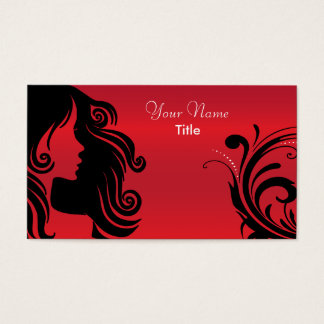 Silhouette Woman Hair Stylist | Red Business Card