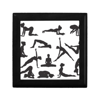 Silhouette Yoga poses Trinket Box