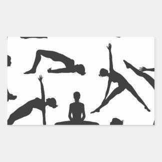 Silhouette Yoga poses Rectangle Sticker