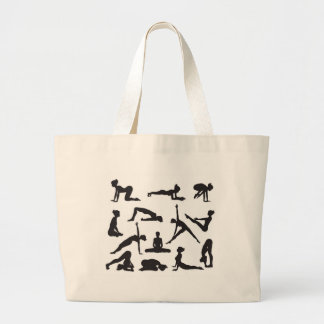 Silhouette Yoga poses Tote Bags