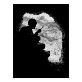 Silhouetted against the entrance_War Image Poster