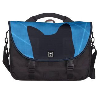 Silhouetted Black Cat on Blue Laptop Bag