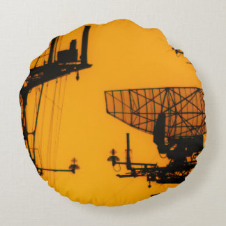 Silhouetted Boats Round Pillow