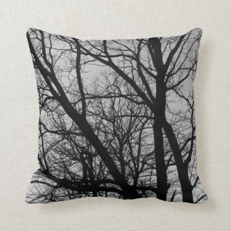 Silhouetted Branches - Black and White Pillow