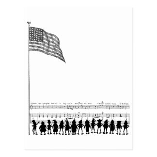Silhouetted Brownie Patriots and Flag Post Card