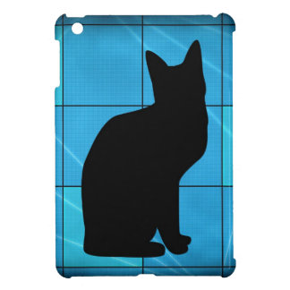 Silhouetted Cat On Blue Design iPad Mini Case