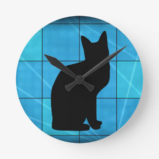 Silhouetted Cat On Blue Design Wall Clock