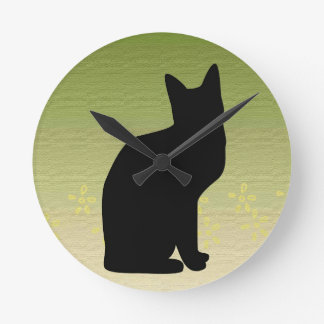 Silhouetted Cat On Light Green Design Wall Clock