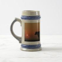 Silhouetted cows beer stein