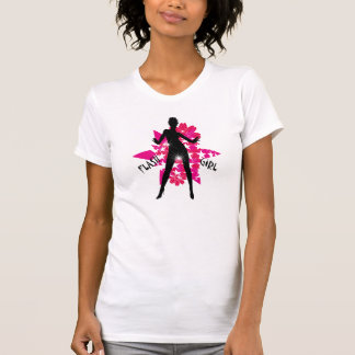 Silhouetted dancer against pink and white T-Shirt