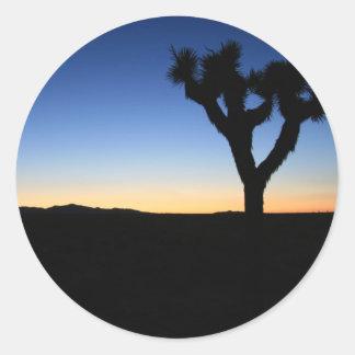 Silhouetted Joshua Tree Classic Round Sticker