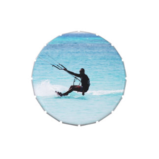 Silhouetted Kitesurfer Candy Tin