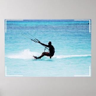 Silhouetted Kitesurfer Poster