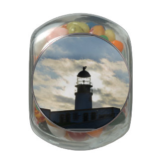 Silhouetted Lighthouse Glass Candy Jars