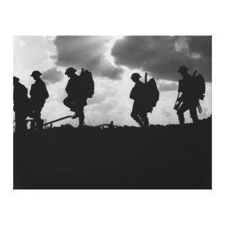 Silhouetted Marching World War I Soldiers (1917) Stretched Canvas Print