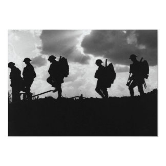 Silhouetted Marching World War I Soldiers (1917) Card