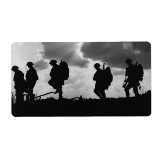 Silhouetted Marching World War I Soldiers (1917) Label