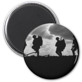Silhouetted Marching World War I Soldiers (1917) Fridge Magnets