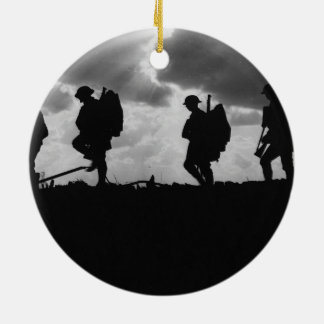 Silhouetted Marching World War I Soldiers (1917) Double-Sided Ceramic Round Christmas Ornament