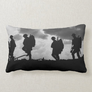 Silhouetted Marching World War I Soldiers (1917) Pillows